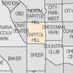 Denver neighborhood's map thumbnail for Capitol Hill.