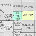 Denver neighborhood's map thumbnail for City Park and Uptown